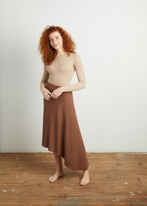 *RIBBED* CASCADE SKIRT (COFFEE)