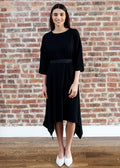 *RIBBED* EDGE DRESS (BLACK)