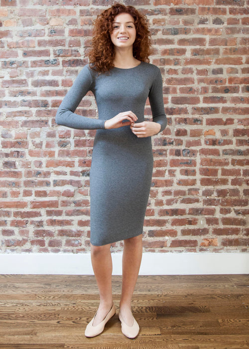 *RIBBED* BODY DRESS GRAY (Crew Neck)