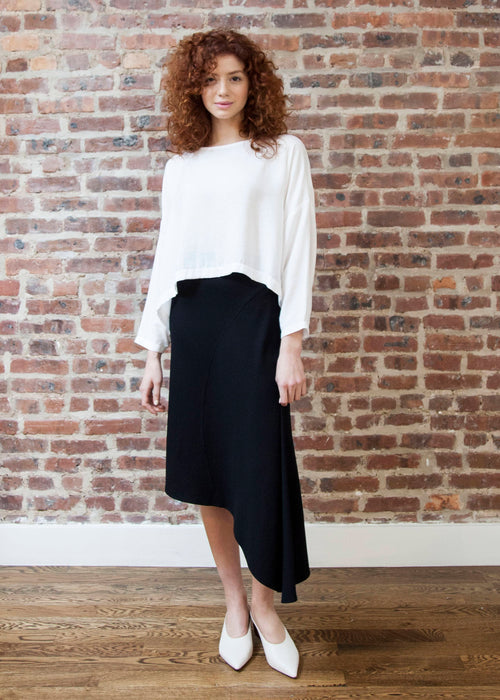 CASCADE SKIRT (BLACK) *RIBBED*