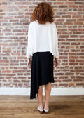*RIBBED* CASCADE SKIRT (BLACK)