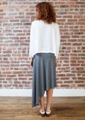 *RIBBED* CASCADE SKIRT (GRAY)