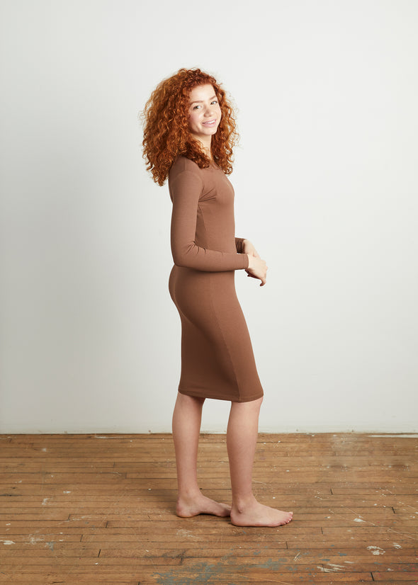 *RIBBED* BODY DRESS (COFFEE)