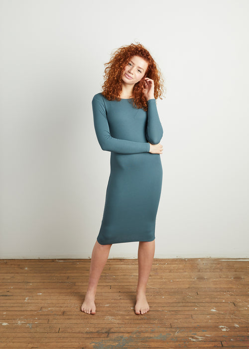 *FINE RIBBED* BODY DRESS (TWILIGHT BLUE)