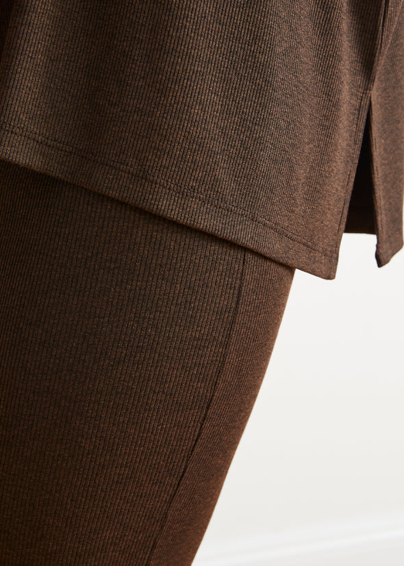 *PRE-ORDER* FINE RIBBED SKIRT LEGGINGS (CHOCOLATE)