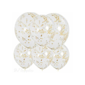 "12"" Gold Confetti Balloons 6 Pack-Party Accessories-DJ Supplies Ltd"