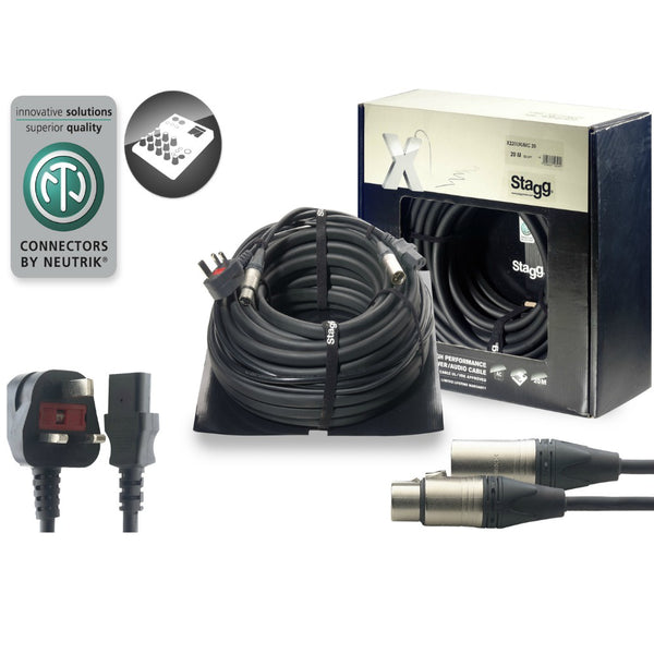 Stagg Combined Power Audio Lead 20m-Power Leads-DJ Supplies Ltd
