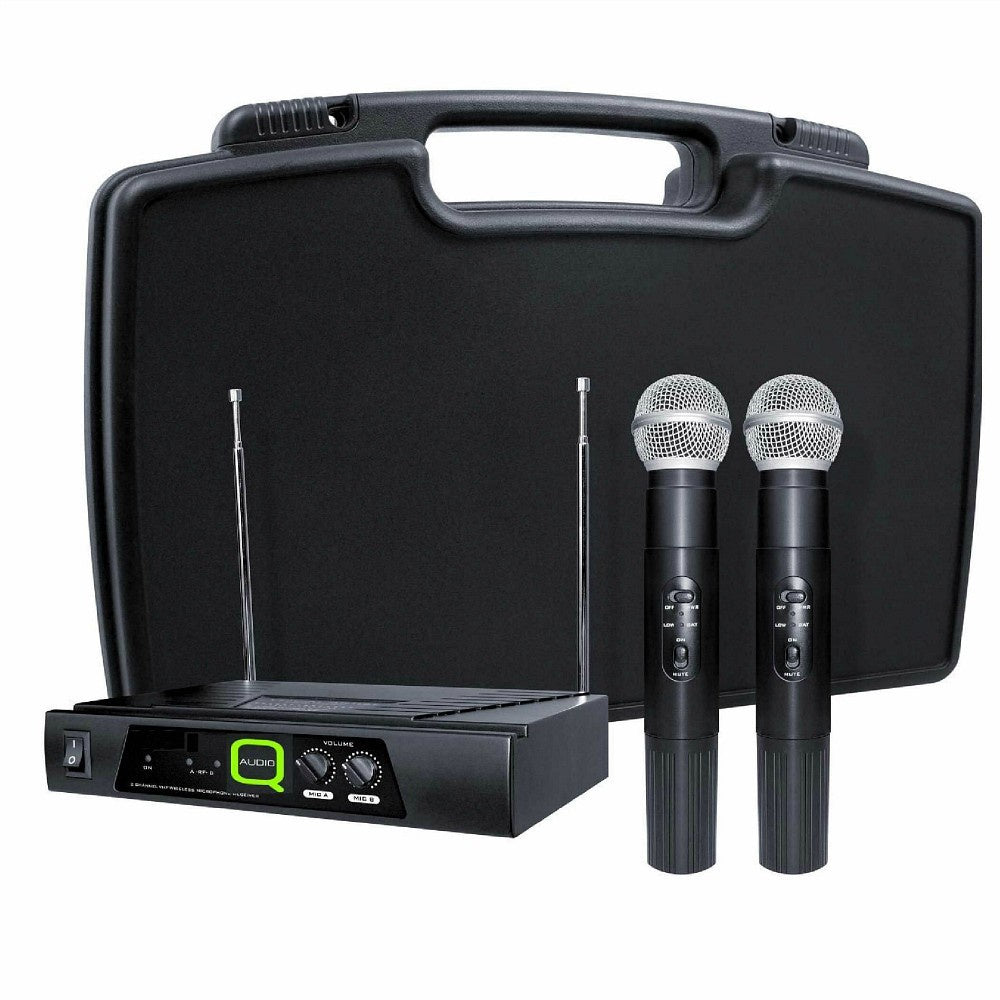 Q Audio QWM11 Dual Wireless Microphones-Wireless Microphones-DJ Supplies Ltd