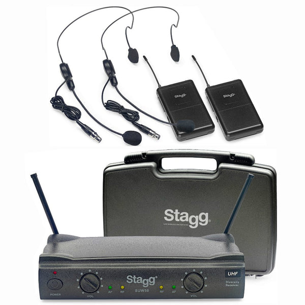 Stagg Dual UHF Wireless Headworn Microphones-Wireless Microphones-DJ Supplies Ltd