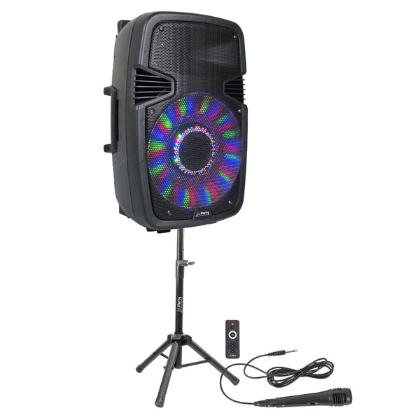 "15"" Portable PA With Bluetooth, Flashing LEDS, Stand & Mic-Portable PA-DJ Supplies Ltd"