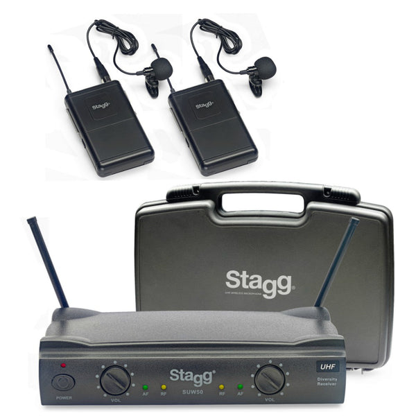 Stagg Dual UHF Wireless Lapel Microphones-Wireless Microphones-DJ Supplies Ltd