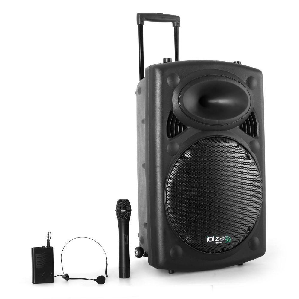 "Ibiza 12"" Portable PA With Bluetooth & Dual UHF Mics-Portable PA-DJ Supplies Ltd"