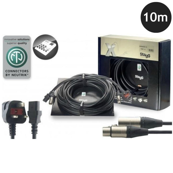 Stagg Combined Power Audio Lead 10m-Power Leads-DJ Supplies Ltd