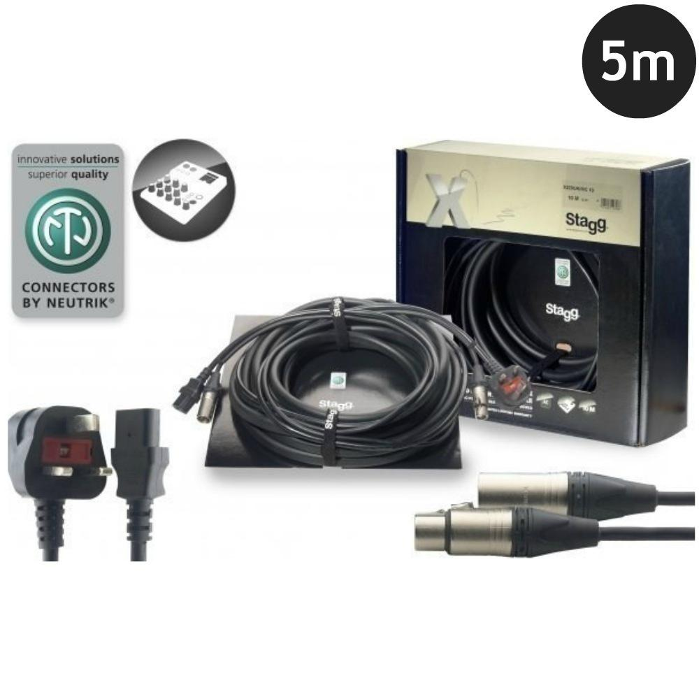 Stagg Combined Power Audio Lead 5m-Power Leads-DJ Supplies Ltd