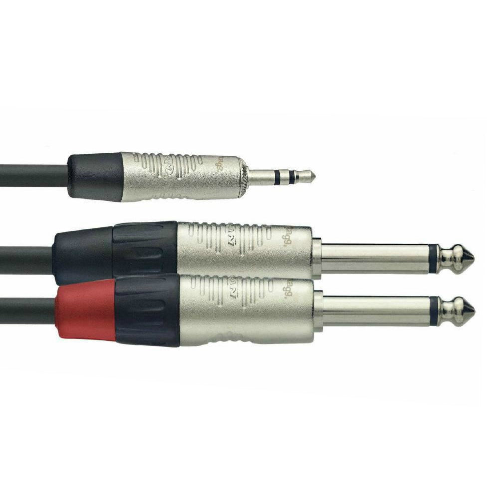 Stagg Rean 3.5mm Stereo Jack to 2x Jack 2m Lead-Signal Leads-DJ Supplies Ltd