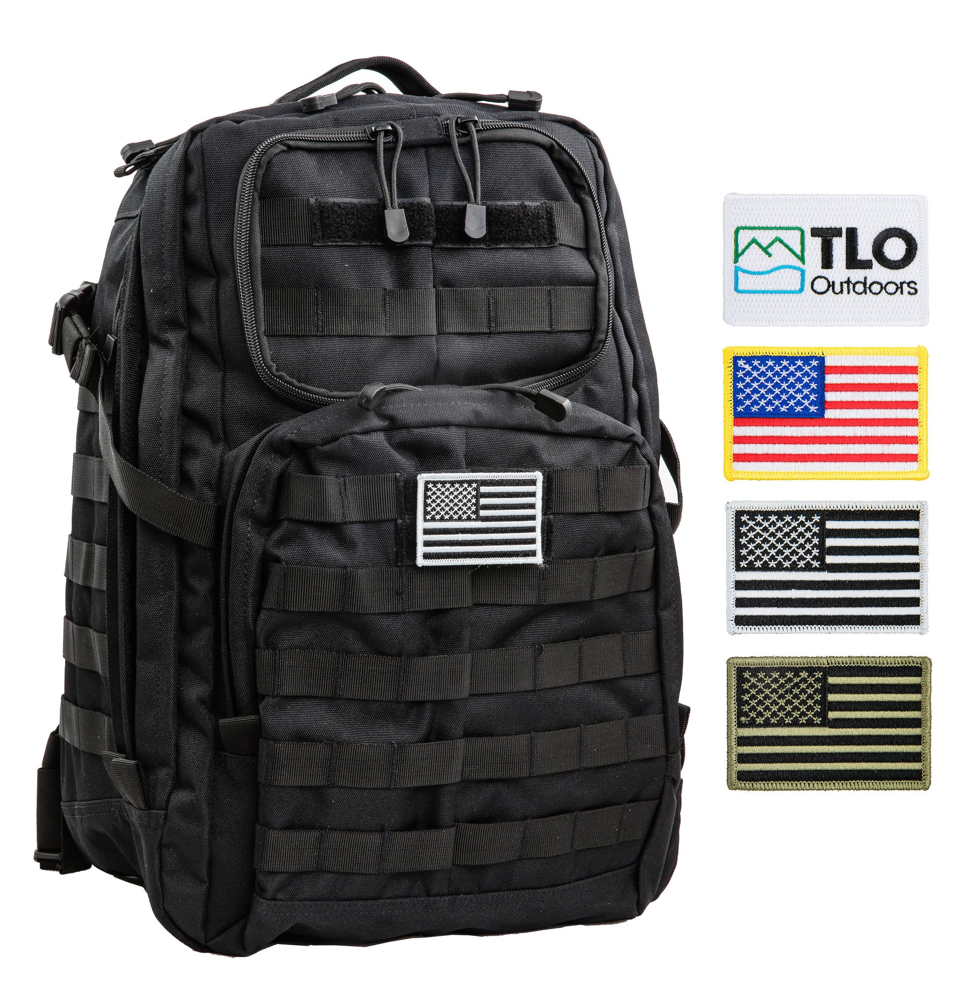 TLO Outdoors TacPack Tactical Backpack with Flag Patches
