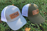 Rugged, Distressed-Style Snapback Trucker Cap with Leather TLO Outdoors Logo Patch