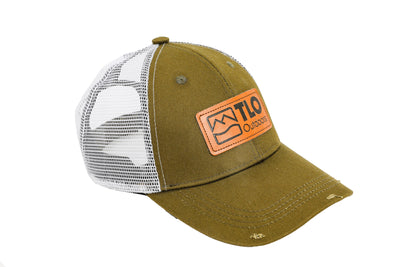 Distressed Style Trucker Cap with Leather Patch