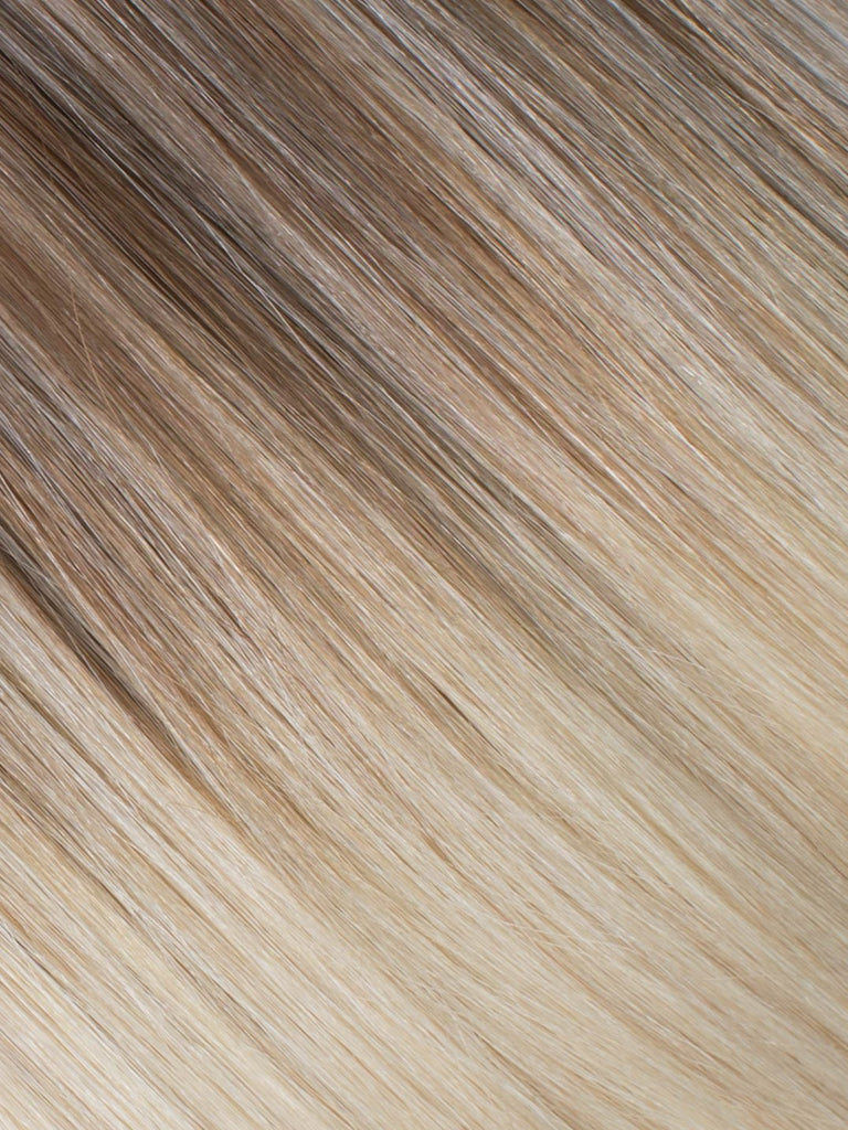 "BELLAMI Professional Micro I-Tips 16"" 25g  Ash Brown/Ash Blonde #8/#60 Balayage Straight Hair Extensions"