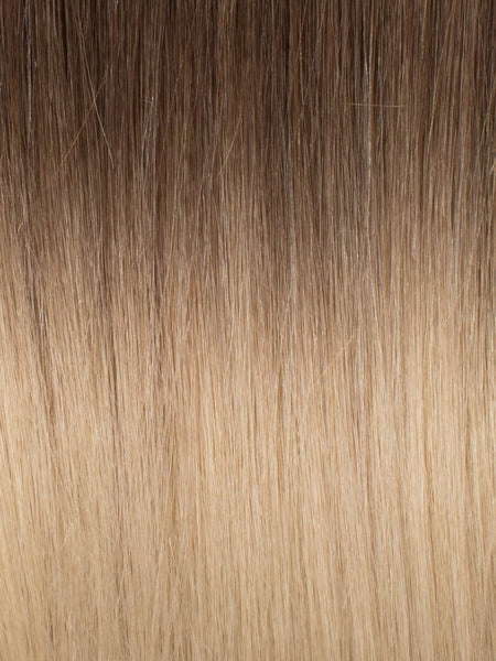 "BELLAMI Professional Micro Keratin Tip 18"" 25g  Brown Blonde #8/#12 Rooted Straight Hair Extensions"