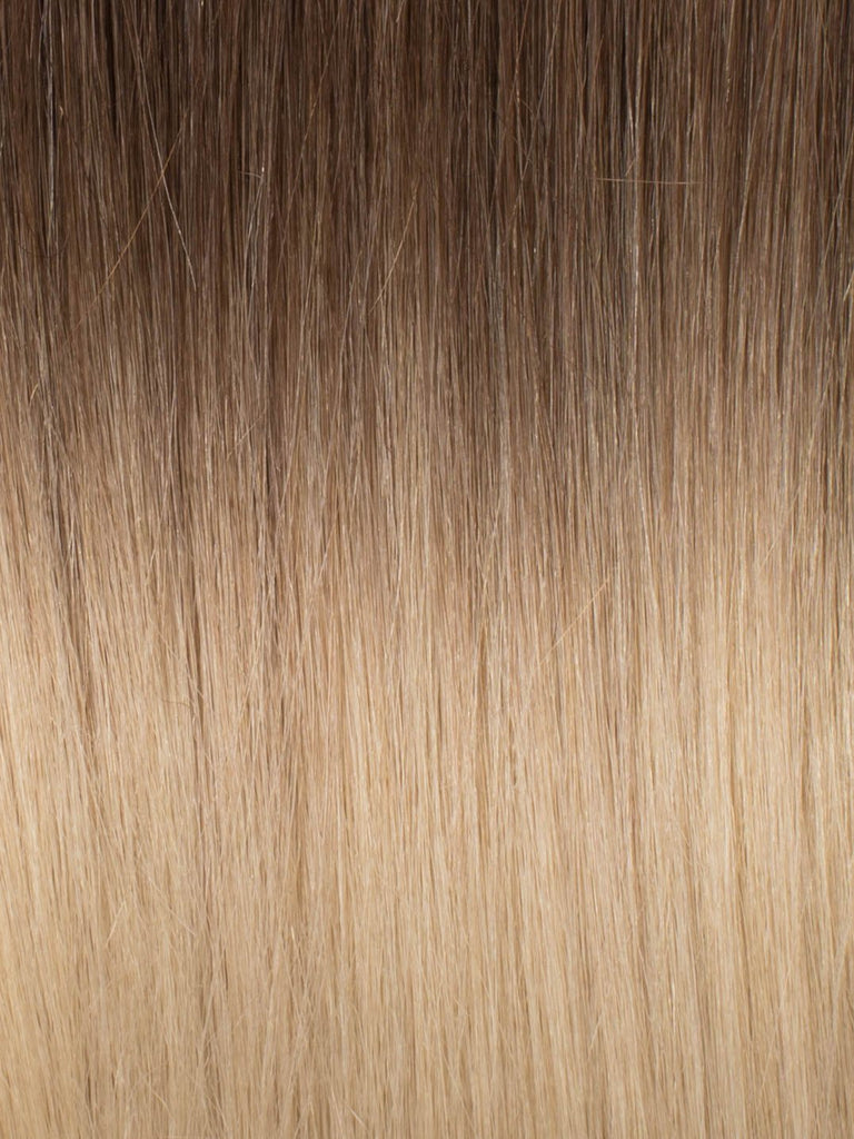 "BELLAMI Professional Micro I-Tips 20"" 25g  Brown Blonde #8/#12 Rooted Straight Hair Extensions"