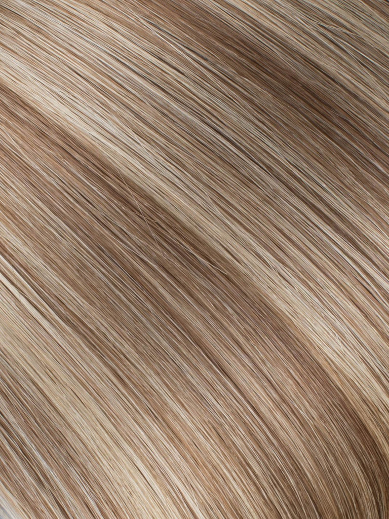"BELLAMI Professional Micro I-Tips 16"" 25g  Hot Toffee Blonde #6/#18 Highlights Straight Hair Extensions"