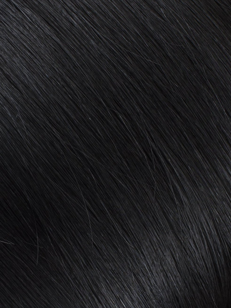 "BELLAMI Professional Micro Keratin Tip 16"" 25g  Jet Black #1 Natural Straight Hair Extensions"