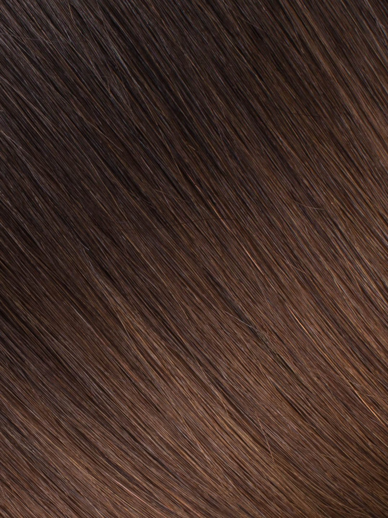 "BELLAMI Professional Tape-In 16"" 50g  Mochachino Brown/Chestnut Brown #1C/#6 Ombre Straight Hair Extensions"