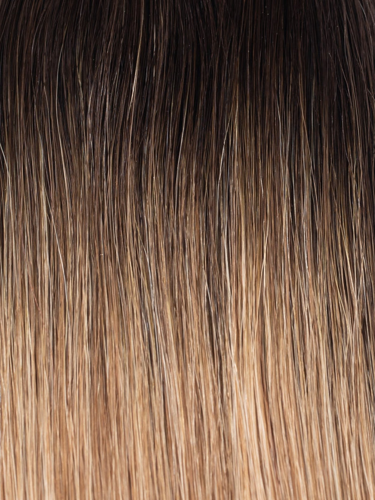 "BELLAMI Professional Tape-In 22"" 50g Mochachino Brown/Caramel Blonde #1C/#18/#46 Rooted Straight Hair Extensions"