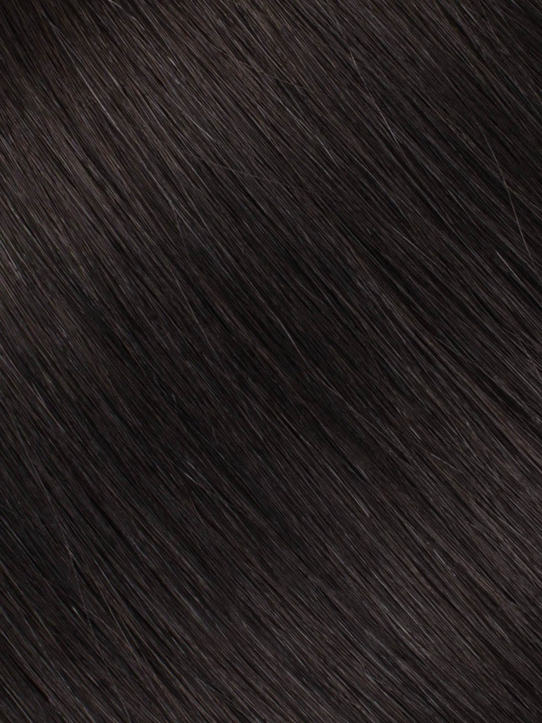 "BELLAMI Professional Micro I-Tips 16"" 25g  Off Black #1B Natural Straight Hair Extensions"