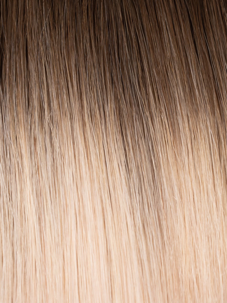 "BELLAMI Professional Tape-In 18"" 50g Walnut Brown/Ash Blonde #3/#60 Rooted Straight Hair Extensions"