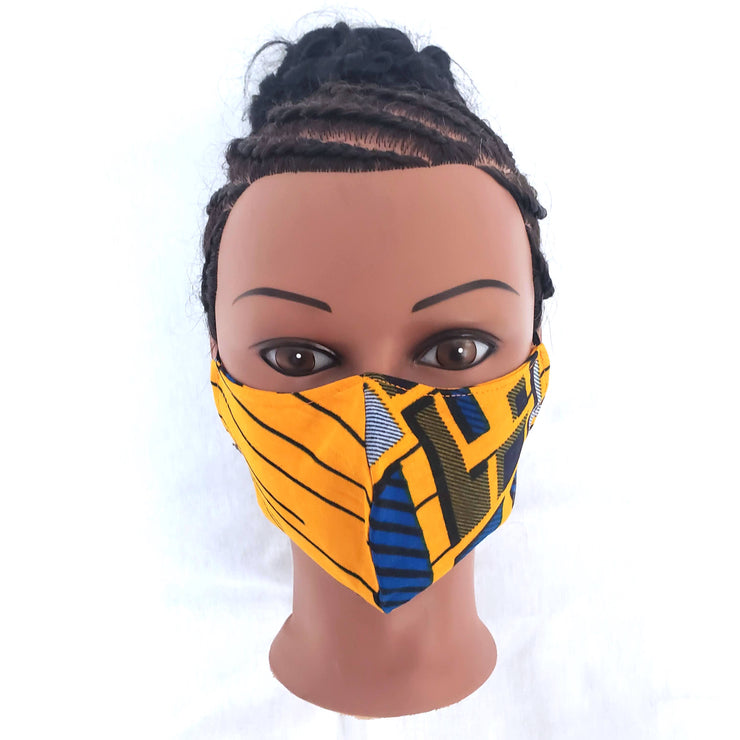 Yellow & blue Ankara Fabric 100 % Cotton Face Mask - Washable and Reusable