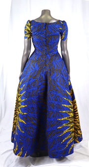 Royal blue sunshine Ankara African print dress
