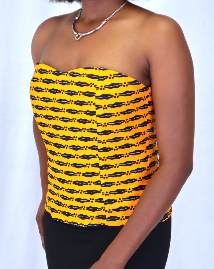 Yellow Ankara corset sweetheart top