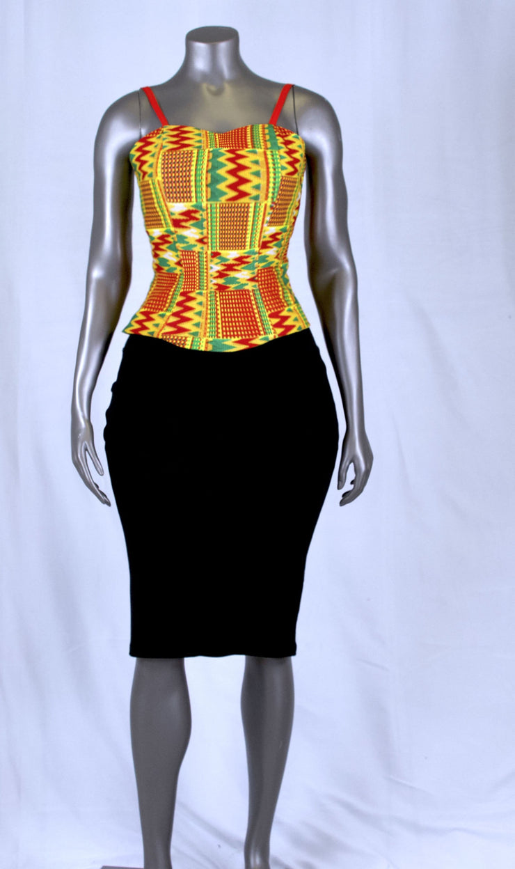 Red & Orange Kente Sweetheart Top
