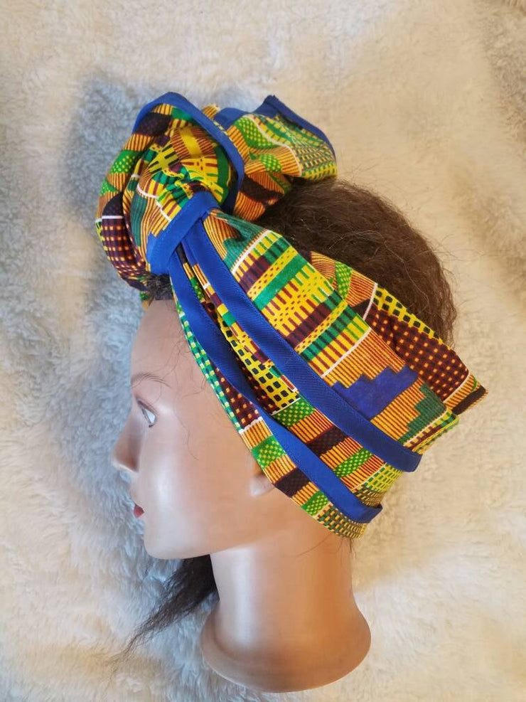 Kente Hair Wrap blue trim edges
