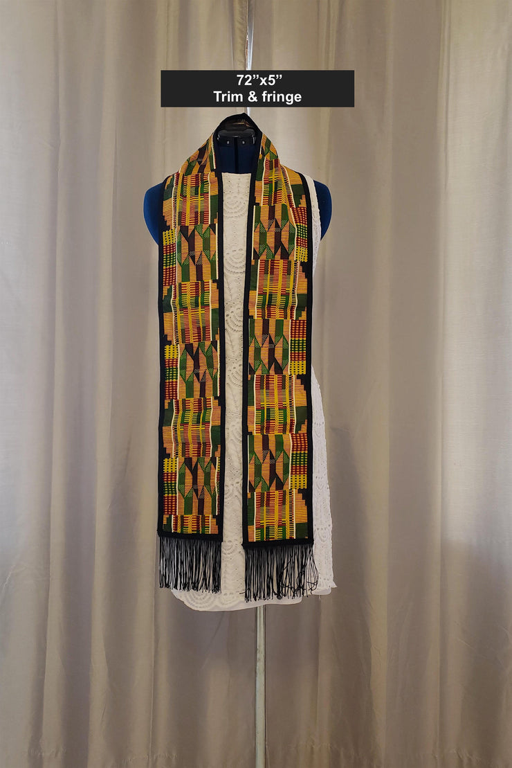 Kente print Stole / Sash / Scarf ---  trim and fringe