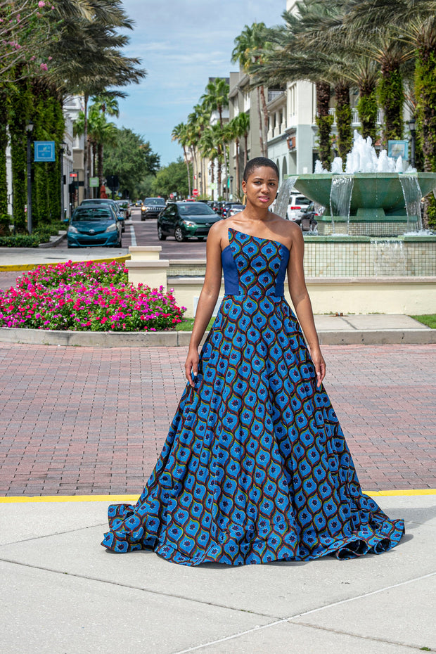 Ankara African Red Carpet - Evening Dress - Blue Ball Gown - Weeding Gown - Prom