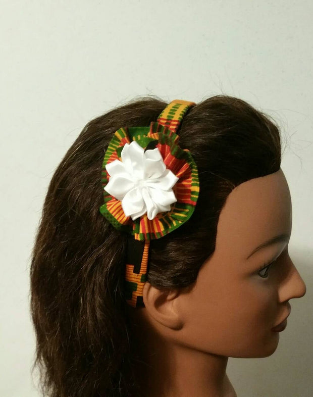 "Wrapped headband 1""wide  - kente african print /hairband flower"