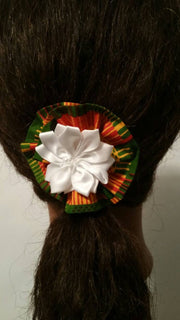 Rose flower african print hair pin
