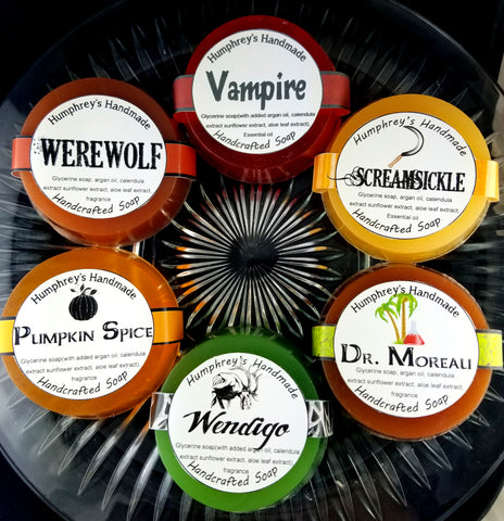 HALLOWEEN Bundle of 6 Soaps | Unisex | Horror Soap Puck Sampler - Humphrey's Handmade