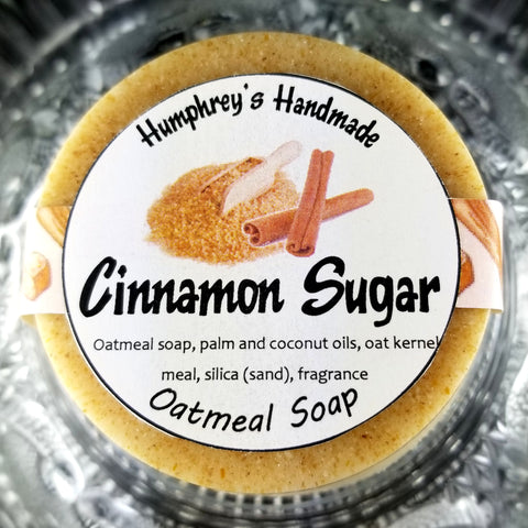 CINNAMON SUGAR Oatmeal Soap | Holiday Scented Exfoliating Beauty Bar - Humphrey's Handmade