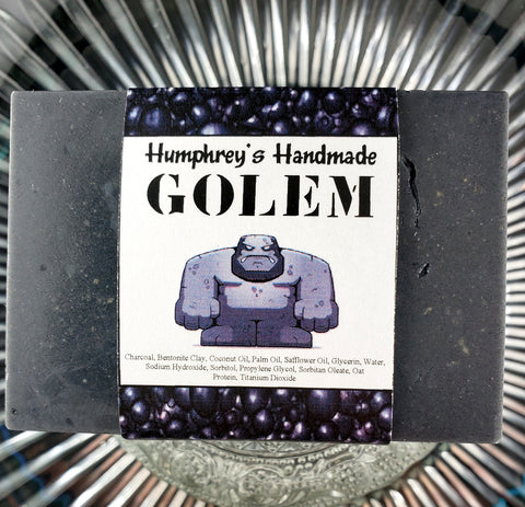 GOLEM Charcoal and Bentonite Clay Soap | Color and Fragrance Free | Extra Hard