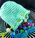 Turquoise Dice Bag | Lime and White Accents | Medium Drawstring Bag - Humphrey's Handmade