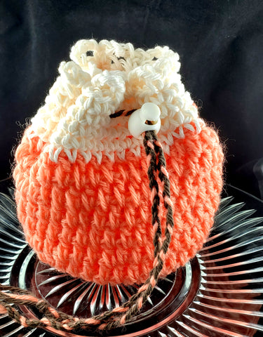 Coral Dice Bag | Salmon and White | Medium Drawstring Bag - Humphrey's Handmade