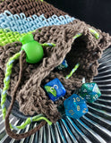Forest Gnome Dice Bag | Blue, Green and Brown | Large Drawstring Bag - Humphrey's Handmade
