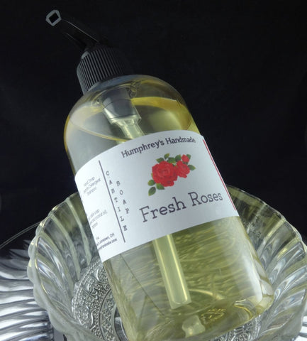 FRESH ROSES Body Wash | 8 oz | Women's Rose Scented Castile Soap | Shampoo - Humphrey's Handmade