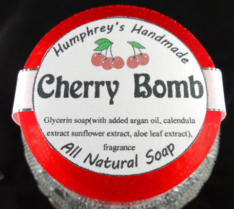 CHERRY BOMB Soap | Black Cherry Almond Scent |Women's Shave Soap | Body Soap - Humphrey's Handmade