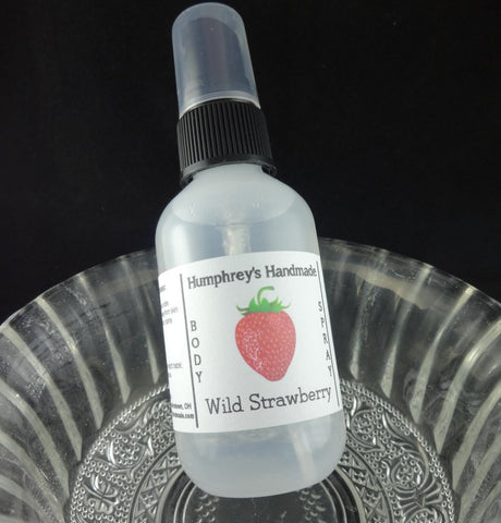 WILD STRAWBERRY Body Spray | 2 oz | All Natural Perfume | Strawberry Sugar - Humphrey's Handmade