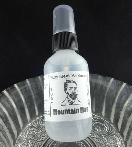 MOUNTAIN MAN Men's Body Spray | 2 oz | Essential Oil | Lavender | Peppermint | Orange - Humphrey's Handmade